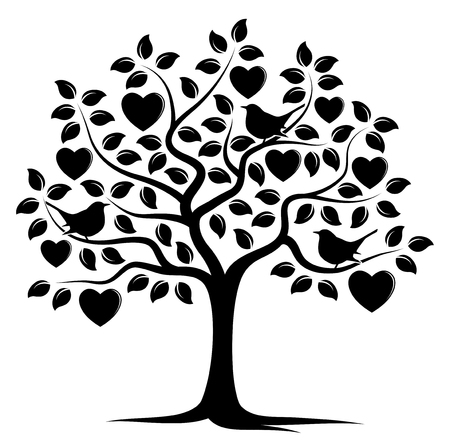 Ilustración de vector heart tree and birds isolated on white background - Imagen libre de derechos