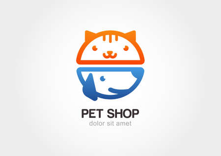 Abstract design concept for pet shop or veterinary. Dog and cat symbol. Vector logo template.