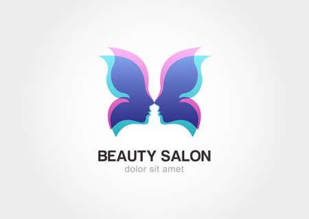 Ilustración de Woman's face in butterfly wings. Abstract design concept for beauty salon. Vector logo template. - Imagen libre de derechos