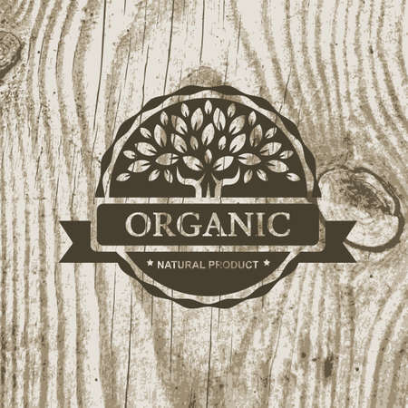 Illustration for Organic product badge with tree on wooden texture. Vector illustration background. - Royalty Free Image