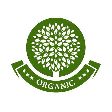 Ilustración de Green circle tree. Organic product badge. Garden or ecology icon. - Imagen libre de derechos
