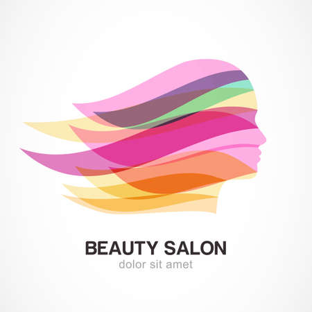 Illustration for Beautiful girl silhouette with colorful streaming hair. Abstract design concept for beauty salon, massage, cosmetic and spa. Vector logo design template. - Royalty Free Image