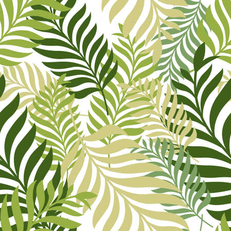 Ilustración de Green palm tree leaves. Vector seamless pattern. Nature organic background. - Imagen libre de derechos