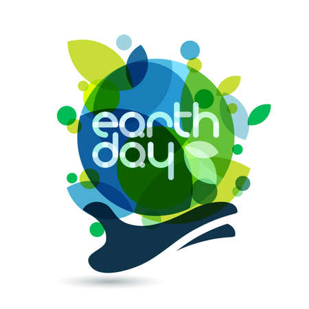 Illustration pour Abstract vector illustration background. Human hand holding green Earth. Concept for save earth day. - image libre de droit
