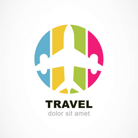 Foto de Flight airplane silhouette and colorful stripe background. Travel around the world concept. Abstract vector logo design template. - Imagen libre de derechos