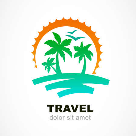 Foto de Vector logo design template. Abstract sun and palm tree on seaside. Concept for travel agency, tropical resort, beach hotel, spa. Summer vacation symbol. - Imagen libre de derechos