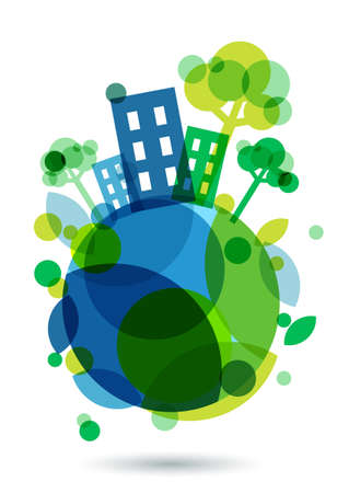Ilustración de Colorful house silhouette and green trees on the Earth. Abstract vector illustration. Ecology background, concept for save earth day. - Imagen libre de derechos