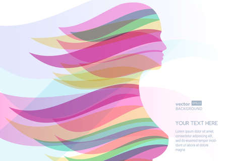 Illustration pour Beautiful girl silhouette with colorful streaming hair. Vector abstract background. Design concept for beauty salon, massage, cosmetic and spa. - image libre de droit