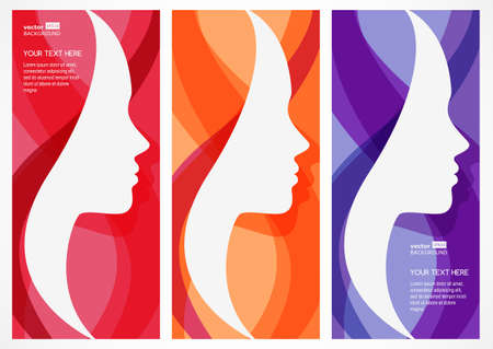 Set of vector abstract background with woman's face silhouette. Profile of the beautiful girl. Abstract design concept for beauty salon, massage, cosmetic and spa.