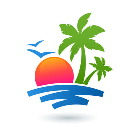 Illustration for Summer beach illustration, abstract sun and palm tree on seaside. Vector logo design template. Concept for travel agency, tropical resort, beach hotel, spa. - Royalty Free Image
