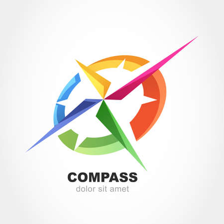 Ilustración de Abstract multicolor compass symbol. Vector logo design template. Modern concept for travel, tourism, business, search. - Imagen libre de derechos
