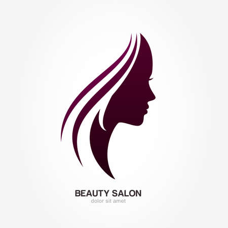 Illustration for Beautiful woman's profile face with streaming hair. Vector logo design template. Abstract design concept for beauty salon, massage, cosmetic and spa, international women day. - Royalty Free Image