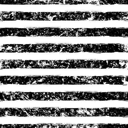 Illustration pour Hand drawn abstract vector watercolor stripe grunge seamless pattern. Black and white texture background. - image libre de droit