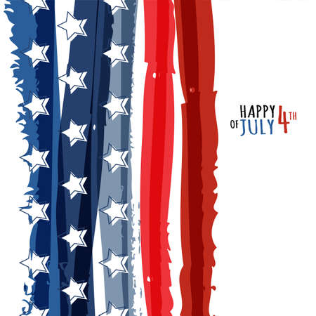 Illustration pour Happy 4th of July, USA Independence Day. Vector abstract grunge background with place for text. Watercolor design concept for greeting card, banner, flyer, poster. - image libre de droit