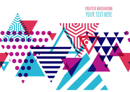 Illustration pour Seamless vector geometric background with place for text. Abstract creative concept for flyer, invitation, greeting card, poster design. Triangle multicolor pattern. - image libre de droit