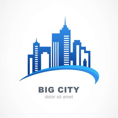 Ilustración de Blue city buildings silhouette. Vector logo design template. Abstract concept for real estate agency, building company, urban landscape, city life. - Imagen libre de derechos