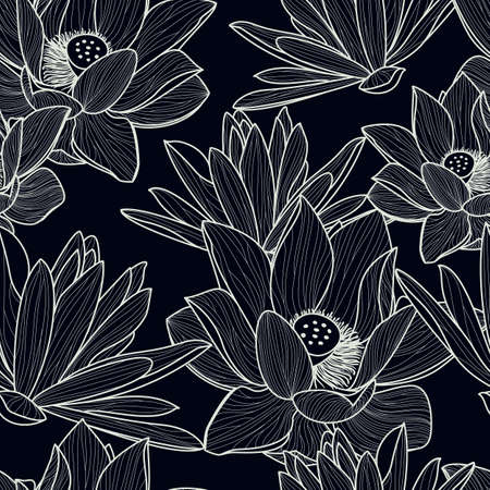 Illustration pour Vector seamless pattern with hand drawn beautiful lotus flower. Black and white floral line illustration background. - image libre de droit