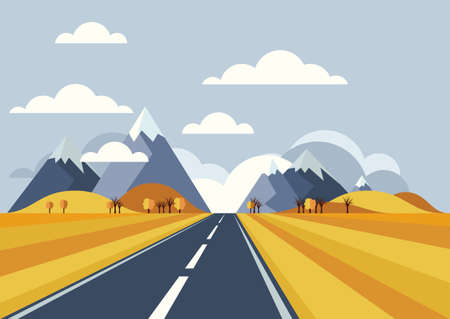 Illustration pour Vector landscape background. Road in golden yellow wheat field, mountains, hills, clouds on the sky. Flat style illustration of autumn nature. - image libre de droit