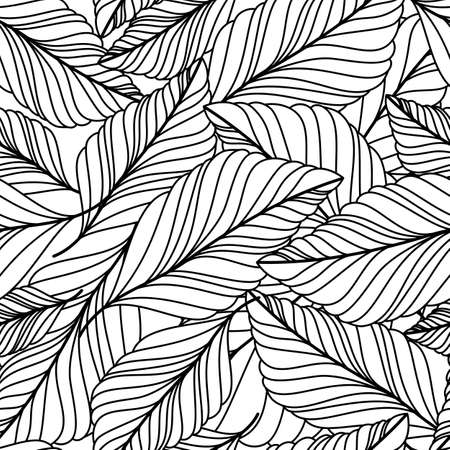 Illustration for hand drawn doodle leaves seamless pattern. Abstract autumn black and white background. Nature organic line illustration. - Royalty Free Image