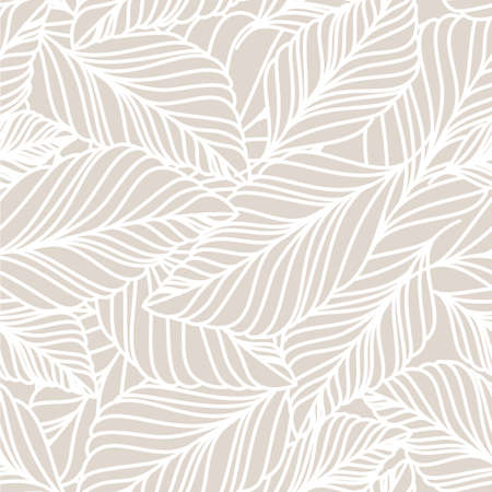Ilustración de Vector hand drawn doodle leaves seamless pattern. Light pastel beige background. Autumn nature illustration. - Imagen libre de derechos