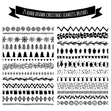Ilustración de Set of doodle hand drawn seamless brushes, borders, dividers isolated on white background. Christmas, New Year holiday decor elements. Tribal trendy pattern. All brushes are included in brush palette. - Imagen libre de derechos