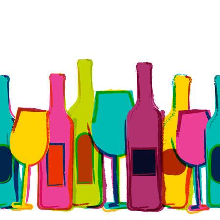 Ilustración de Vector watercolor seamless background, colorful wine bottles and glasses. Concept for bar menu, party, alcohol drinks, holidays, wine list, flyer, brochure, poster, banner. Creative trendy design. - Imagen libre de derechos