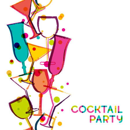 Ilustración de Abstract multicolor cocktail glasses. Watercolor seamless vertical vector white background. Creative concept for bar menu, party, alcohol drinks, holidays, flyer, brochure, poster, banner. - Imagen libre de derechos