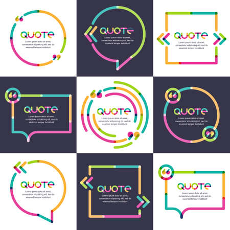 Ilustración de Vector set of quote forms template. Multicolor trendy background. Blank colorful speech bubbles. Business template for text information and print design. - Imagen libre de derechos