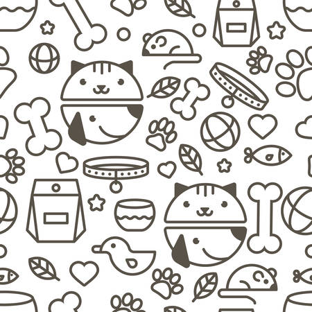 Ilustración de seamless pattern with linear muzzle of cat and dog, goods for animals. Abstract design concept for pet shop or veterinary. Black and white simple background. - Imagen libre de derechos