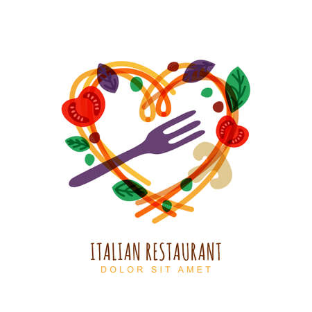 Ilustración de Hand drawn illustration of italian spaghetti in heart shape, tomato, basil and fork. Abstract vector logo design template. Trendy concept for pasta label, restaurant menu, cafe, fast food, pizzeria. - Imagen libre de derechos