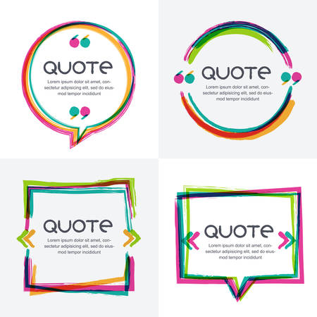 Ilustración de Vector set of quote forms template. Colorful bright backgrounds. Watercolor brush frame. Blank colorful speech bubbles. Business template for text information and print design. - Imagen libre de derechos