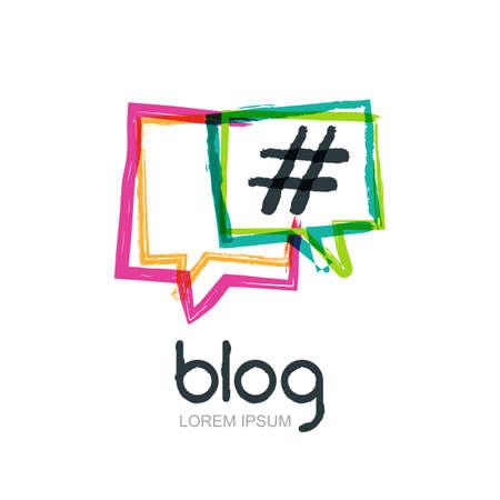 Ilustración de Vector watercolor hand drawn trendy blog icon. Abstract isolated logo. Colorful square speech bubbles with hashtag symbol. Design concept for blog, chat, social media network, forum, communication. - Imagen libre de derechos