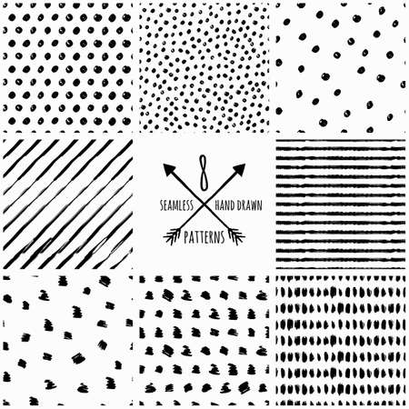Illustration pour Set of vector abstract hand drawn seamless patterns. Black and white doodle universal background made with watercolor, ink and marker. Trendy design concept for fashion textile print. - image libre de droit