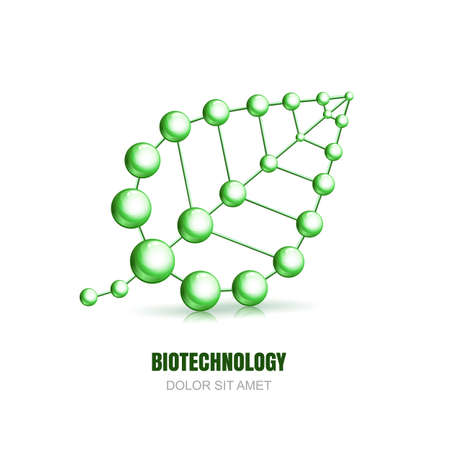 Illustration pour Abstract molecular cell structure of leaf. Vector  icon design template. Atoms and molecules symbol. Concept for science, ecology, biotechnology, cosmetology or chemical industry themes. - image libre de droit