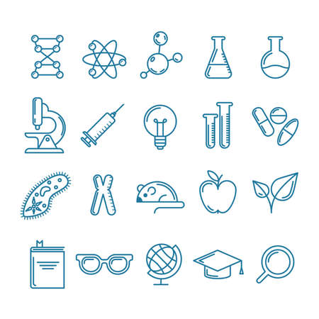Illustration pour Vector outline icons set and design elements. Research, technologies and innovation symbols. Line logo collection. Concept for science, education, medical, chemical industry themes. - image libre de droit