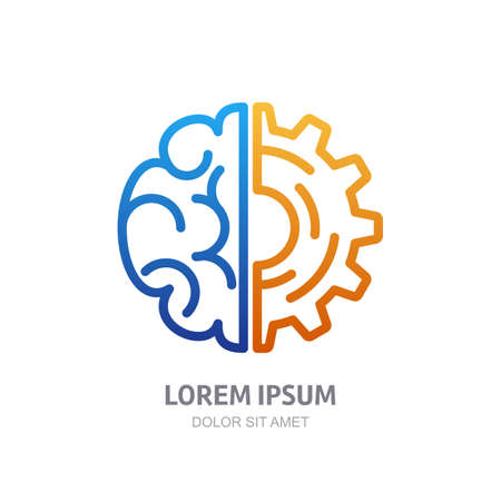Illustration pour Vector logo icon with brain and gear cog. Abstract outline illustration. Design concept for business solutions, high technology, development, invention and innovation, creativity, scientific themes. - image libre de droit