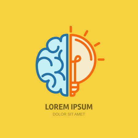 Illustration pour Vector logo icon with brain and light bulb. Abstract flat illustration. Design concept for business solutions, high technology, development, invention and innovation, creativity, scientific themes. - image libre de droit