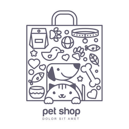 Outline illustration of cute cat and dog in shopping bag shape. Goods for animals, vector icons set. Abstract design concept for pet shop or veterinary.