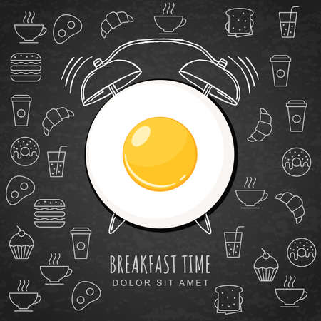 Photo for Fried egg and hand drawn watercolor alarm clock on textured black board background with outline food icons. Vector design for breakfast menu, cafe, restaurant. Fast food background. - Royalty Free Image