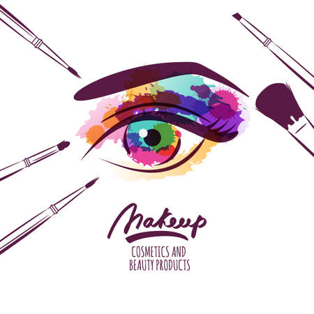 Illustration pour Vector watercolor hand drawn illustration of colorful womens eye and makeup brushes. Watercolor background. Concept for beauty salon, cosmetics label, cosmetology procedures, visage and makeup. - image libre de droit