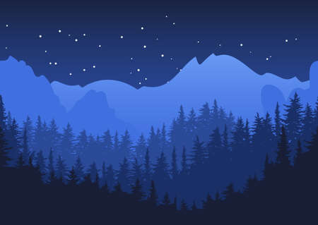 Illustration pour Nature horizontal seamless background. Blue night mountain landscape. Mysterious night sky. - image libre de droit