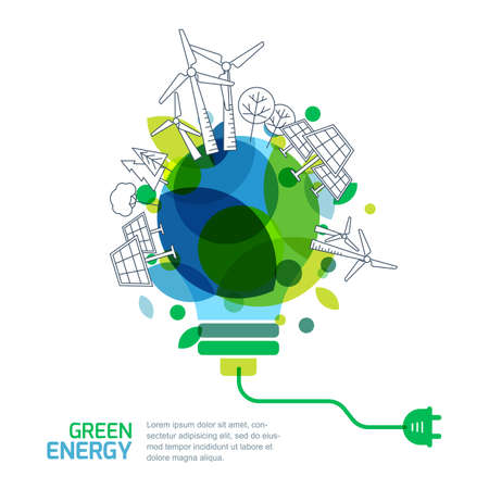 Ilustración de Energy saving concept. Vector illustration of light bulb with outline trees, alternative wind and solar energy generators. Green renewable energy and environmental. - Imagen libre de derechos