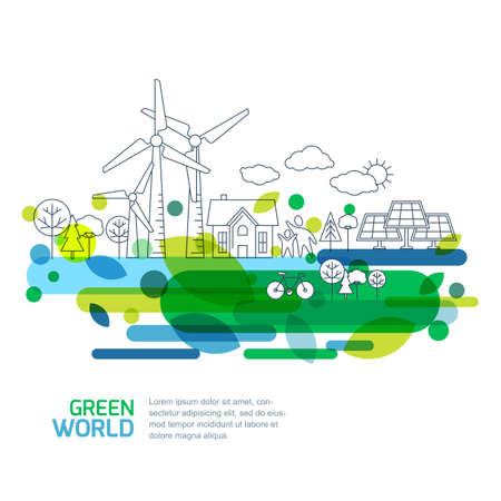 Ilustración de Green landscape illustration, isolated on white background. Saving nature and ecology concept. Vector linear trees, house, people and alternative energy generators. Design for save earth day. - Imagen libre de derechos