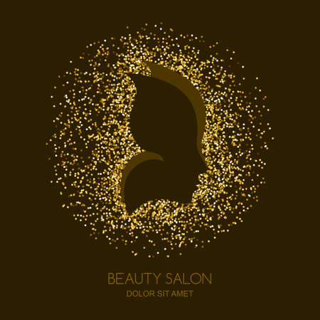 Illustration pour Abstract vector golden background with female face and butterfly wings. Concept for beauty salon, cosmetics, cosmetology and spa. Golden butterfly. Women profile with gold texture background. - image libre de droit