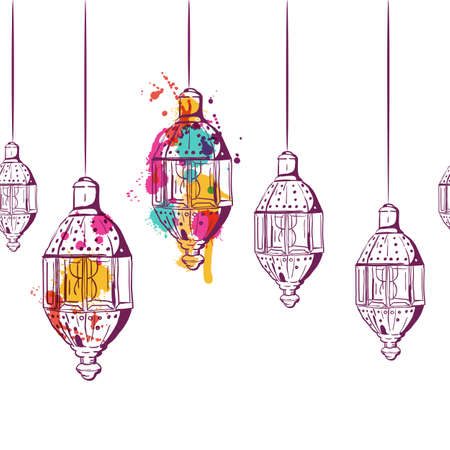 Illustration for Vector seamless horizontal background with hand drawn watercolor lanterns. Design concept for muslim ramadan kareem holiday decoration, banner, card, background. Lanterns linear sketch, isolated. - Royalty Free Image