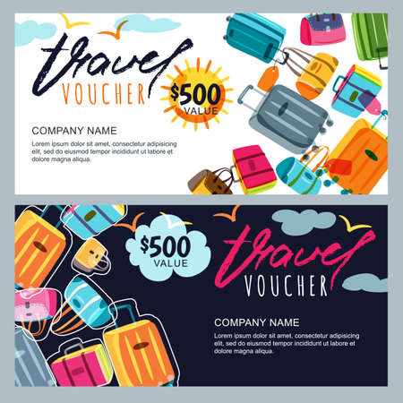 Ilustración de Vector gift travel voucher template. Multicolor luggage, suitcase, bags  . Concept for summer vacation and travel agency. Banner, shop coupon, certificate or flyer layout. - Imagen libre de derechos
