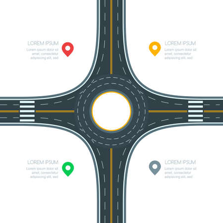 Illustration pour Roundabout road junction, isolated on white background, vector illustration. Infographics template with copy space. Empty asphalt crossroad with marking. Street traffic and transport design template. - image libre de droit