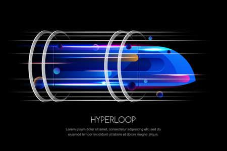 Ilustración de High speed futuristic train, hyper loop, vector multicolor dynamic illustration. Future express transport trendy design concept. - Imagen libre de derechos