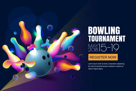 Ilustración de Vector glowing neon bowling tournament banner or poster with multicolor 3d bowling balls and pins. Abstract colorful shapes illustration on black background. - Imagen libre de derechos