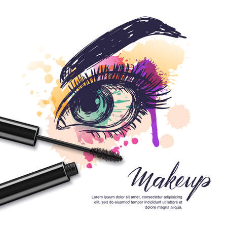 Illustration pour Vector watercolor sketch illustration of colorful female eye and makeup mascara. Watercolor background. Concept for beauty salon, cosmetics label, visage and makeup. - image libre de droit